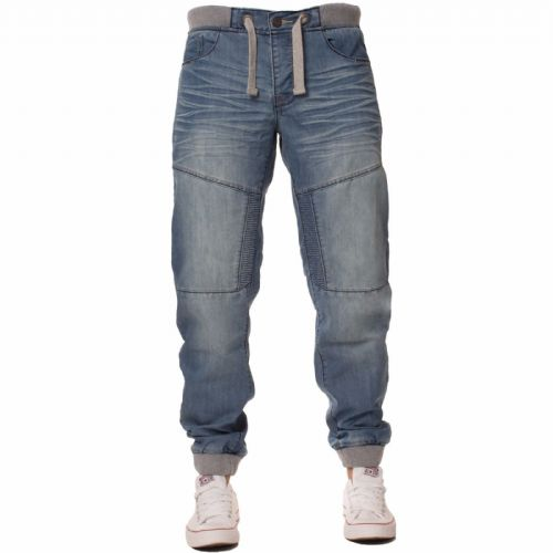 iDenim Men's Designer Stone Blue  Elasticated Grey Waist hem Jeans